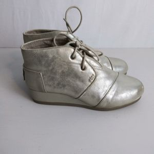 Toms Metallic Shimmer Desert Wedge Ankle Booties 4